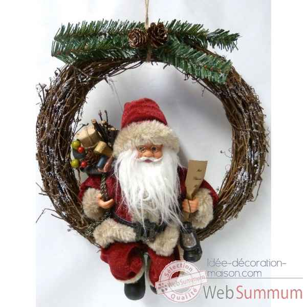 Image et photo de couronne avec p re no l 40cm peha gf - Decoration couronne de noel ...