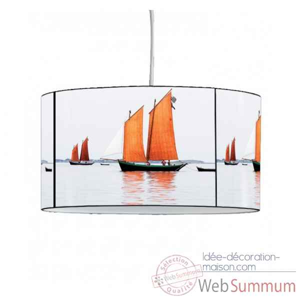 Lampe suspension collection plisson bateau voiles orange -PL1609SUS