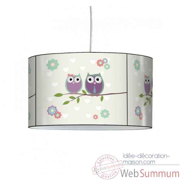 Lampe suspension enfant couple de chouettes -EN1418SUS