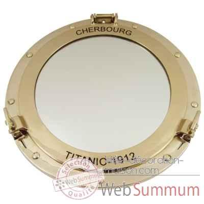 D coration maison miroir hublot laiton 30 cm cherbourg for Miroir 30 cm