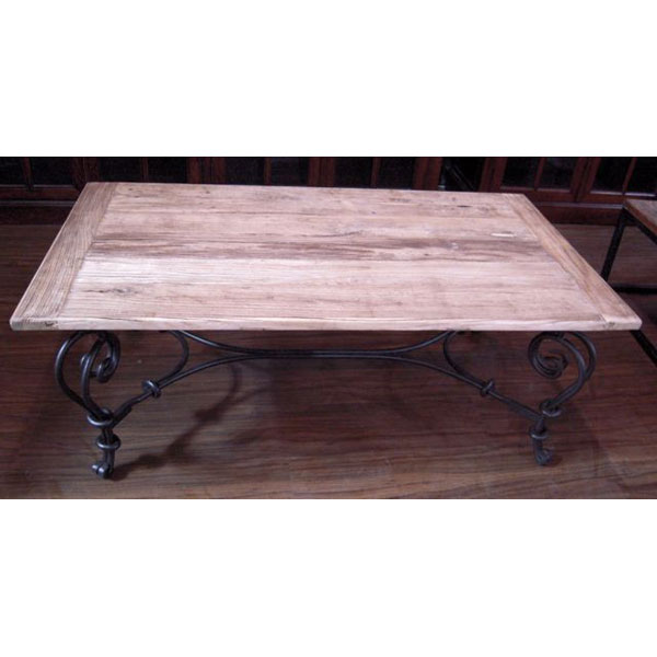 Table basse pied fer forge plateau style chine c2303nat - Table pied fer forge plateau bois ...