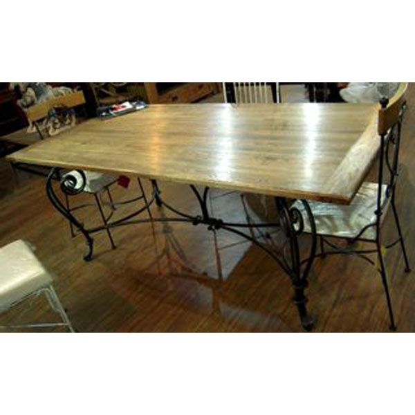 table de repas pied fer forge plateau style chine c2304nat dans tables. Black Bedroom Furniture Sets. Home Design Ideas