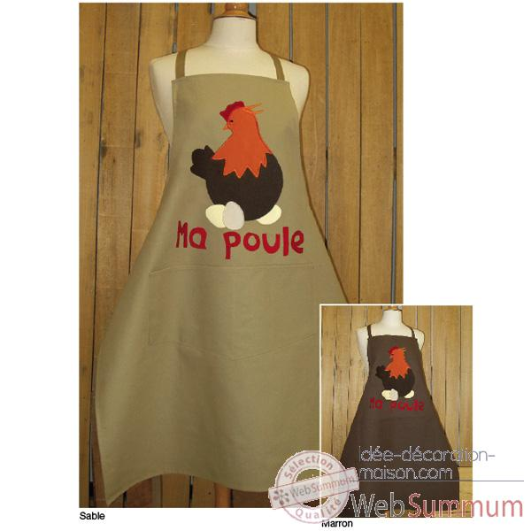 Tablier de cuisine Alma Mater ma poule application -taba2383sable