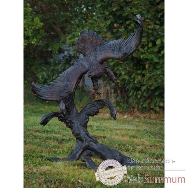 Sculpture aigle sur branche en bronze thermobrass -b81066