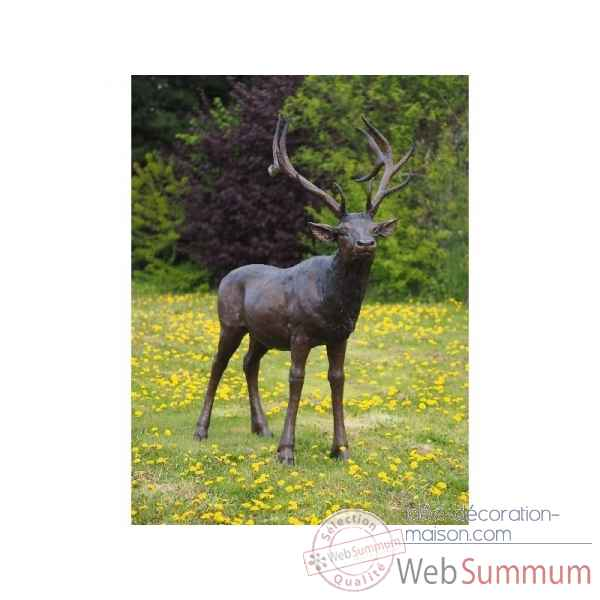 Sculpture cerf en bronze thermobrass -b96005