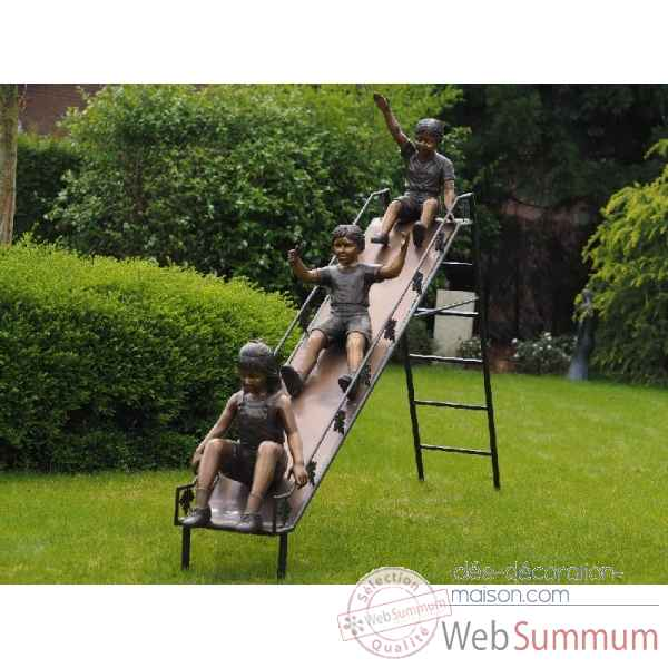 Sculpture 3 enfants sur glissiere en bronze thermobrass -b1240
