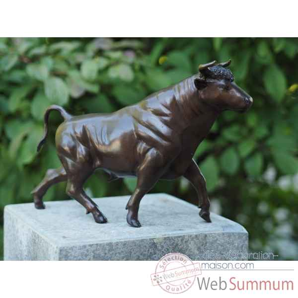 Sculpture taureau en bronze thermobrass -b57862