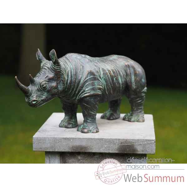 Statue en bronze rhinoceros thermobrass -an0684brw-vi
