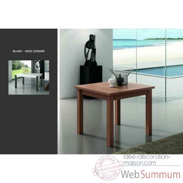 Table + allonge m220 plateau et tablier blanc - pieds gris cendres Urban -11247-3663141